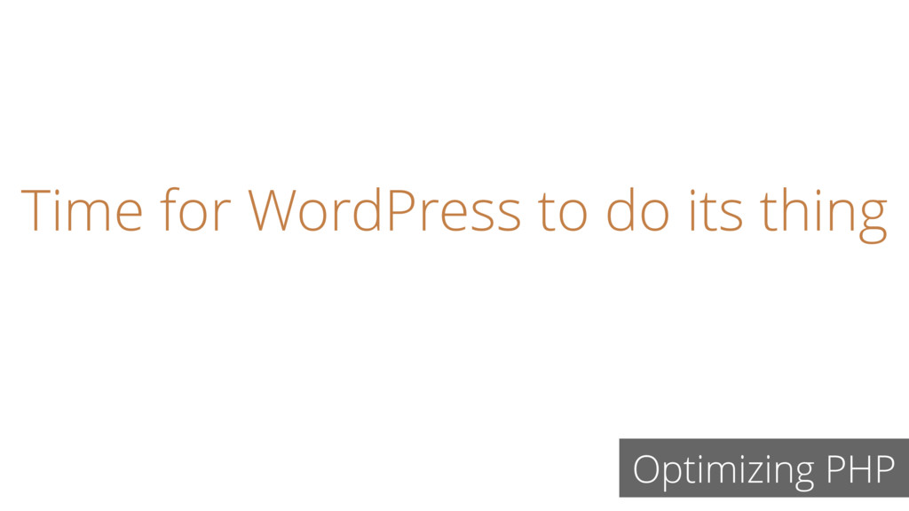 Time for WordPress to do its thing Optimizing P...
