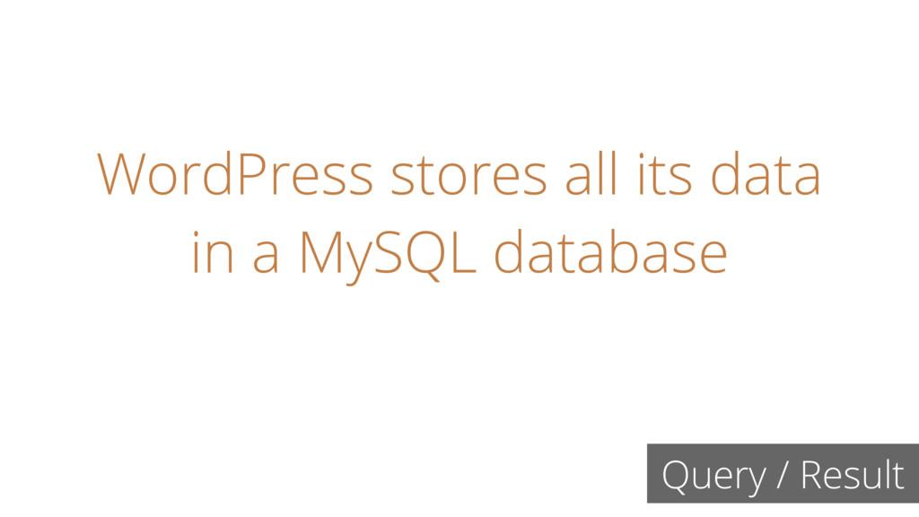 WordPress stores all its data in a MySQL databa...