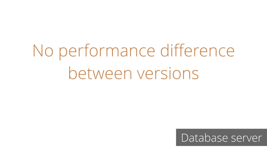 No performance difference between versions Datab...