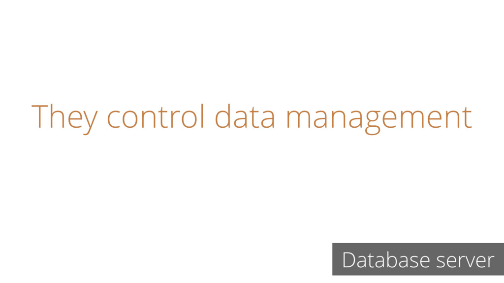 They control data management Database server