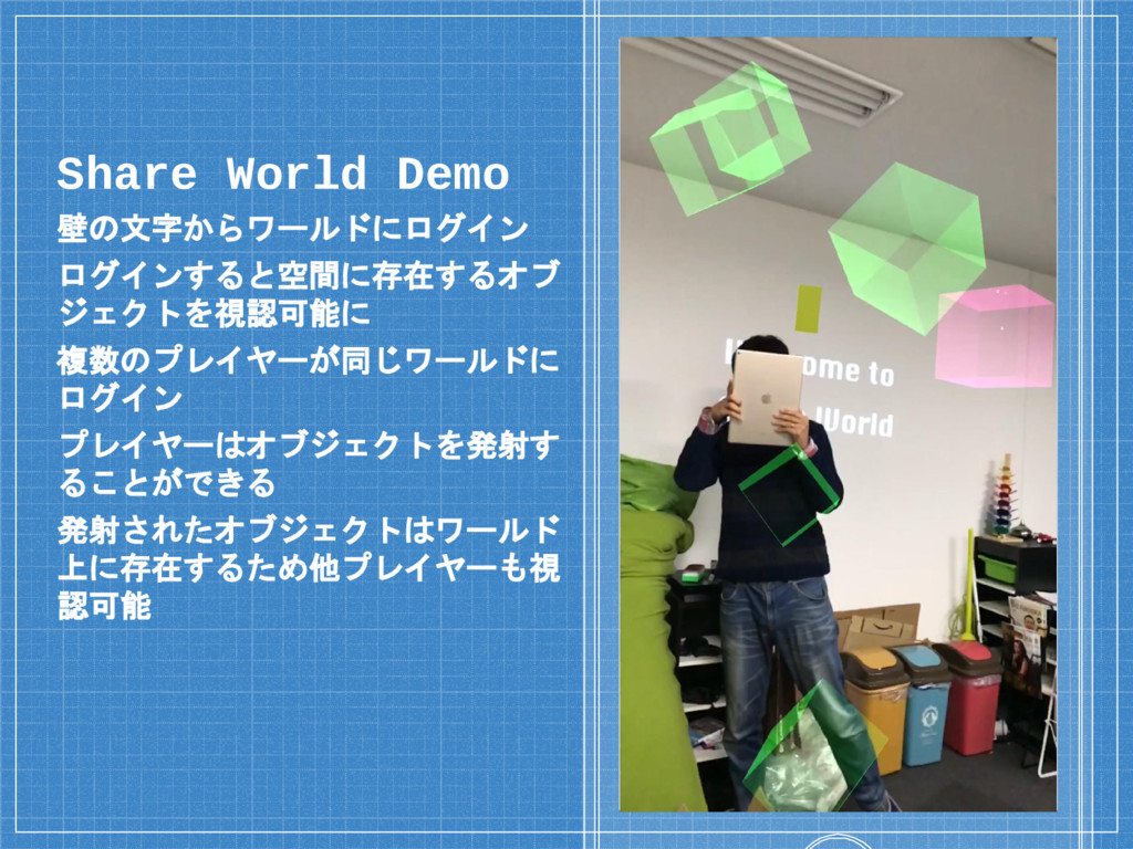 Place your screenshot here Share World Demo 壁の文...