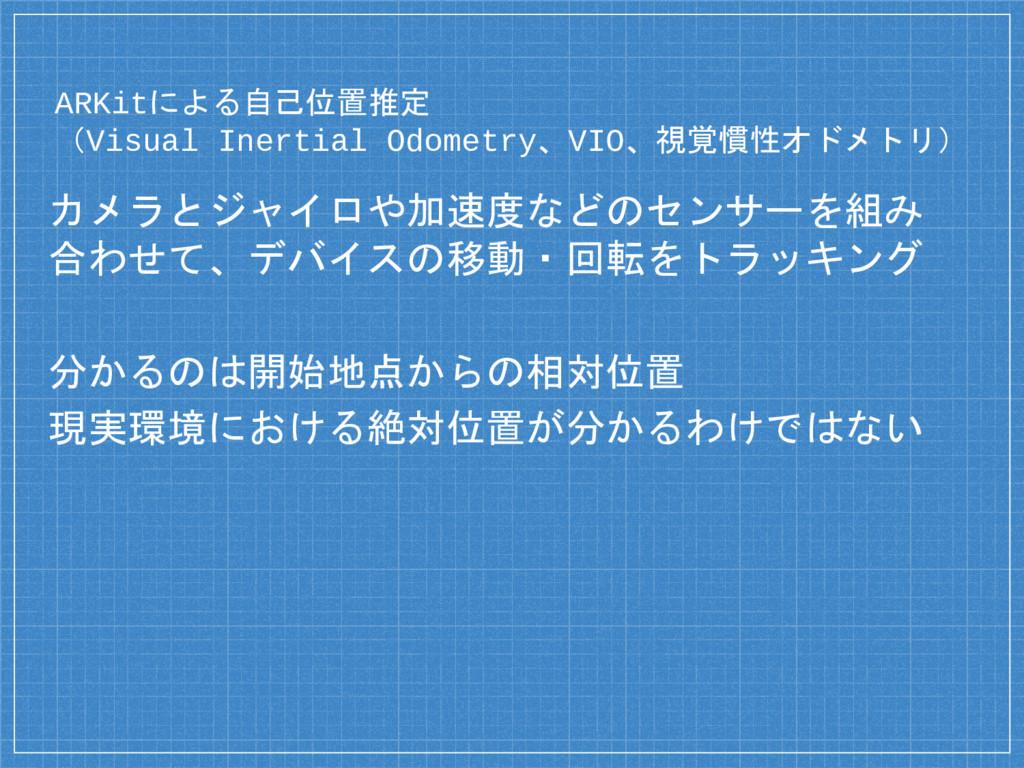 ARKitによる自己位置推定 (Visual Inertial Odometry、VIO、視覚...