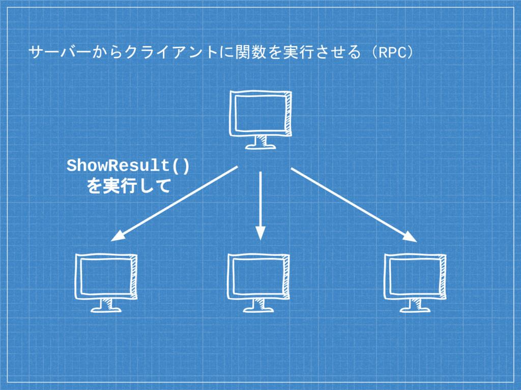 サーバーからクライアントに関数を実行させる(RPC) ShowResult() を実行して