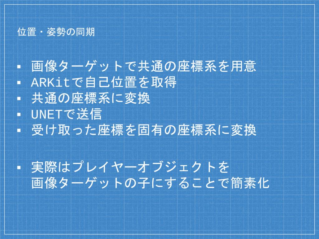 位置・姿勢の同期 ▪ 画像ターゲットで共通の座標系を用意 ▪ ARKitで自己位置を取得 ▪ ...