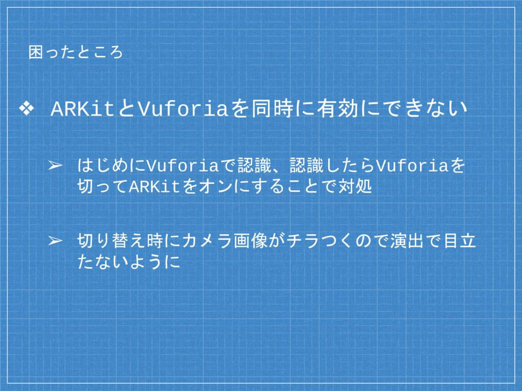 困ったところ ❖ ARKitとVuforiaを同時に有効にできない ➢ はじめにVuforia...