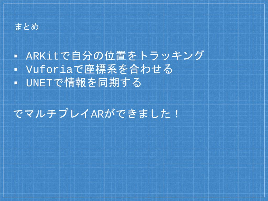 まとめ ▪ ARKitで自分の位置をトラッキング ▪ Vuforiaで座標系を合わせる ▪ U...