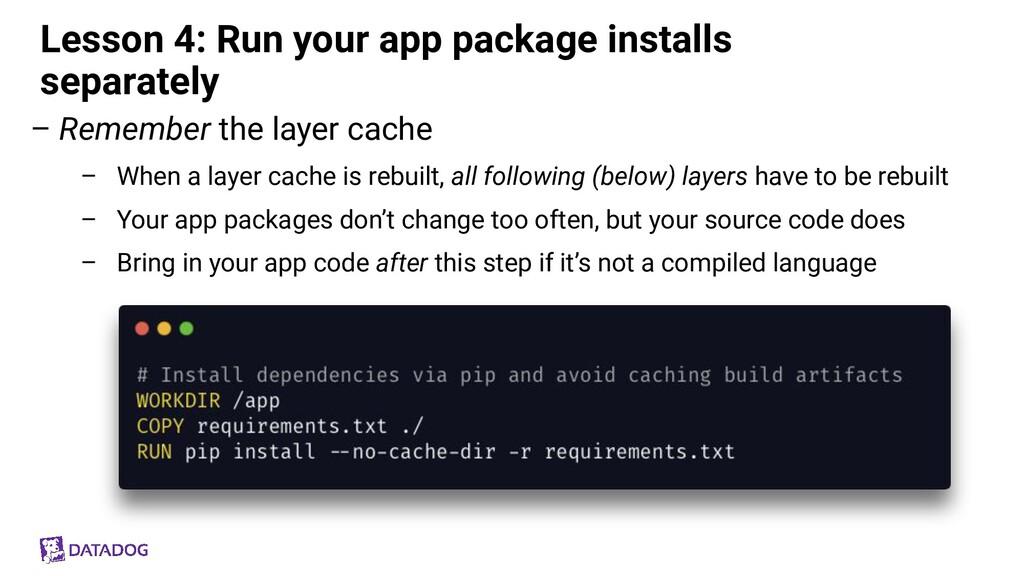 Lesson 4: Run your app package installs separat...