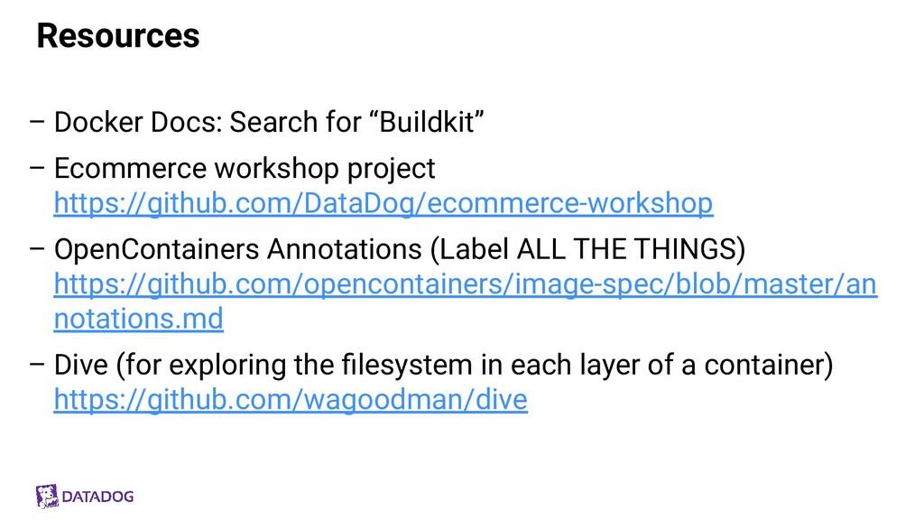 "Resources – Docker Docs: Search for ""Buildkit"" ..."