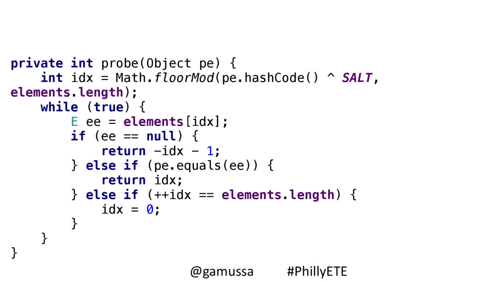 private int probe(Object pe) { int idx = Math....