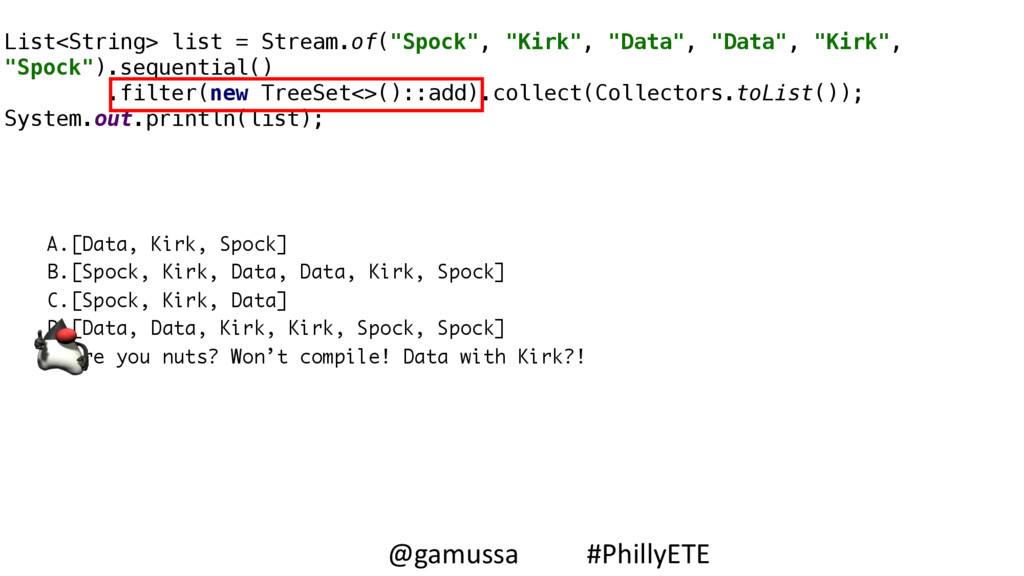 A.[Data, Kirk, Spock] B.[Spock, Kirk, Data, Dat...