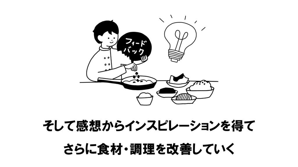 そして感想からインスピレーションを得て さらに食材・調理を改善していく