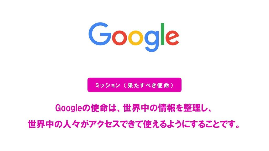 Googleの使命は、世界中の情報を整理し、 世界中の人々がアクセスできて使えるようにすること...