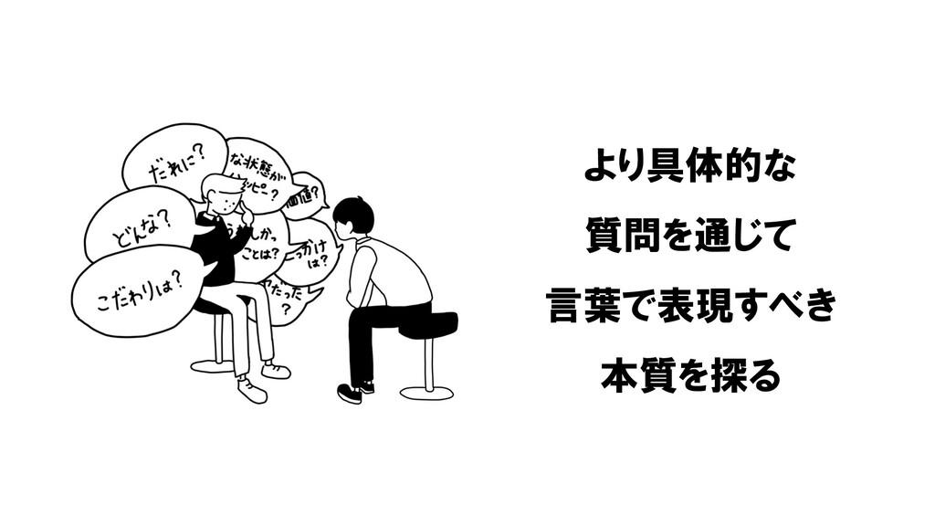 より具体的な 質問を通じて 言葉で表現すべき 本質を探る
