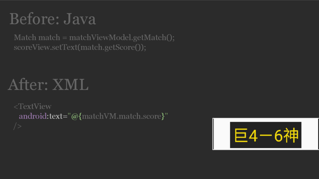 Before: Java Match match = matchViewModel.getMa...