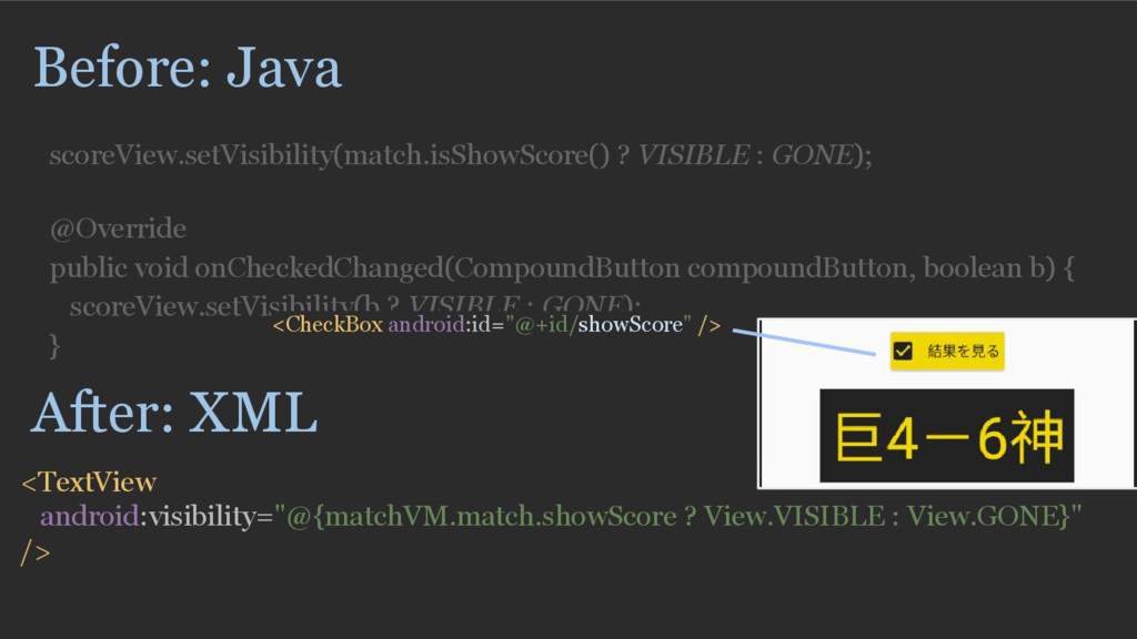 Before: Java scoreView.setVisibility(match.isSh...