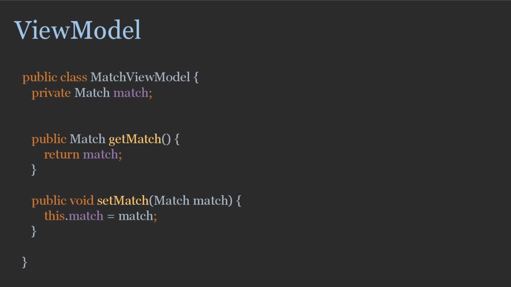 ViewModel public class MatchViewModel { private...