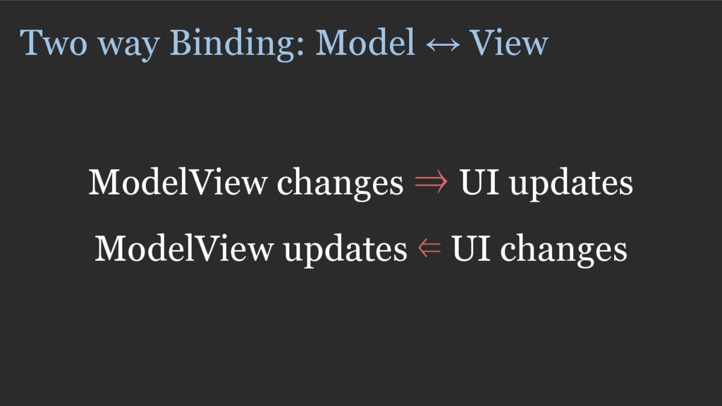 Two way Binding: Model ↔ View ModelView changes...