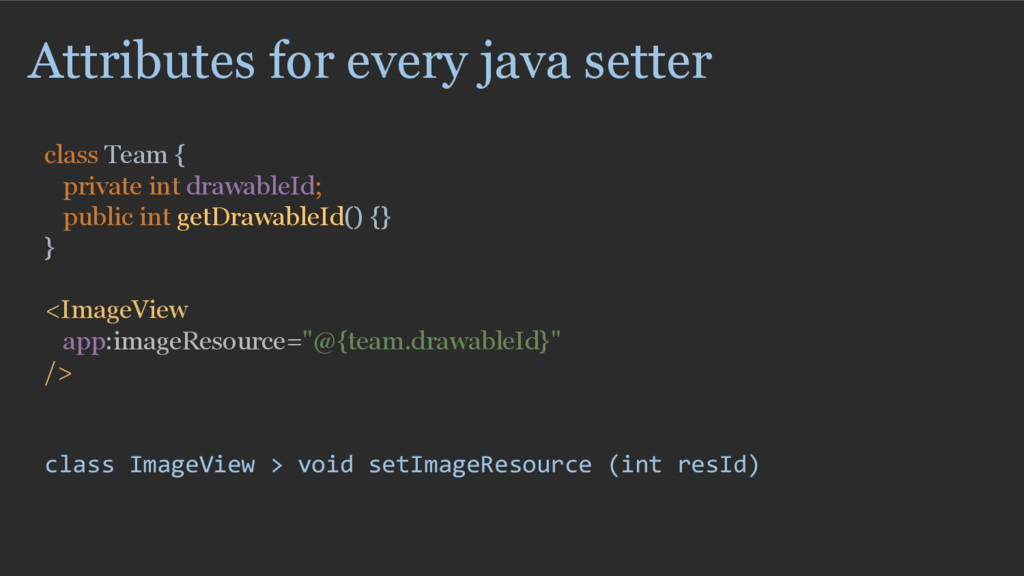 Attributes for every java setter class Team { p...
