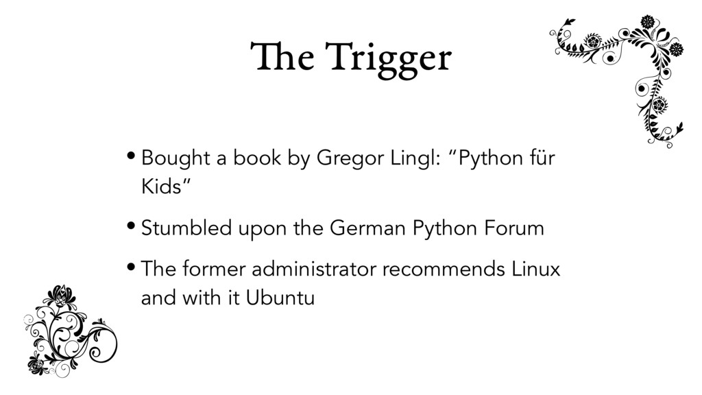 "The Trigger • Bought a book by Gregor Lingl: ""P..."