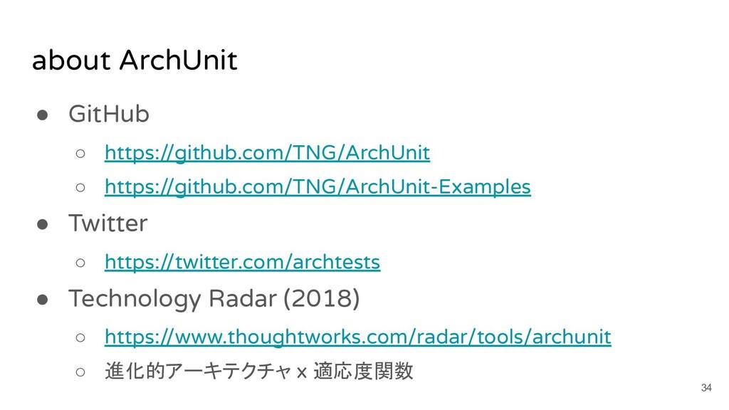 about ArchUnit ● GitHub ○ https://github.com/TN...