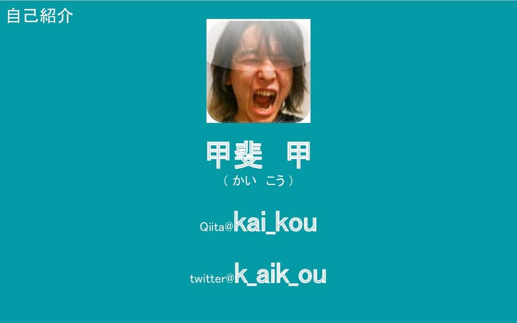 甲斐 甲 ( かい こう ) Qiita@ kai_kou twitter@ k_aik...