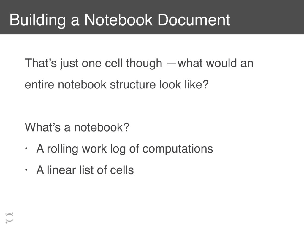 Building a Notebook Document That's just one ce...
