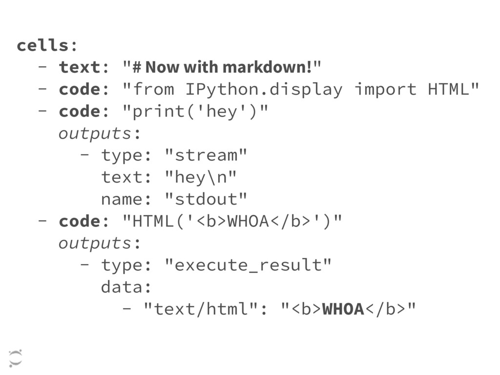 """cells: - text: """"# Now with markdown!"""" - code: """"..."""