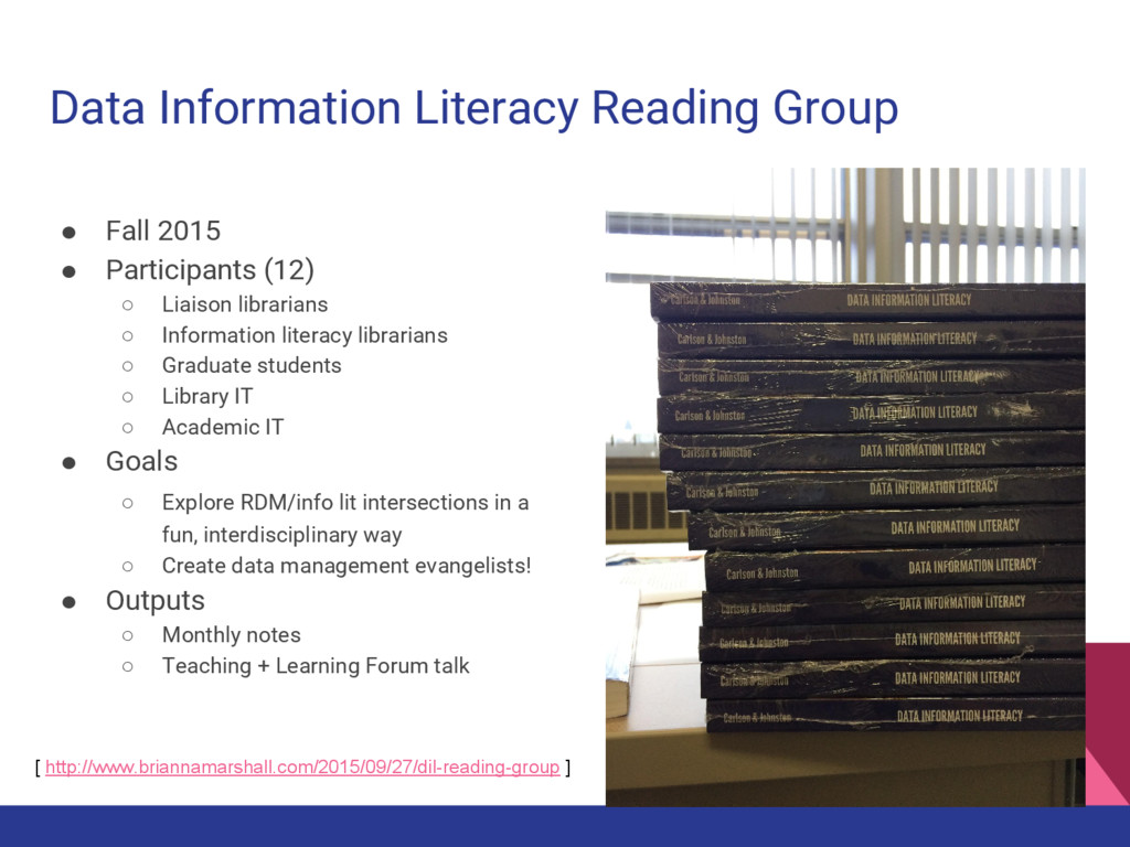 Data Information Literacy Reading Group ● Fall ...