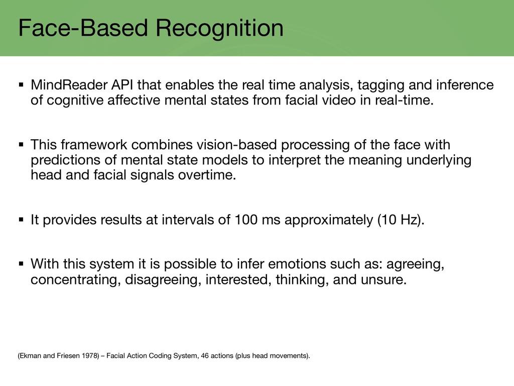 Face-Based Recognition § MindReader API that en...