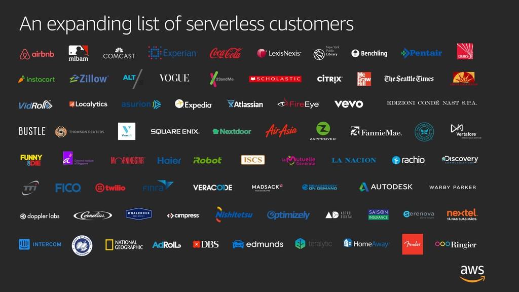 An expanding list of serverless customers