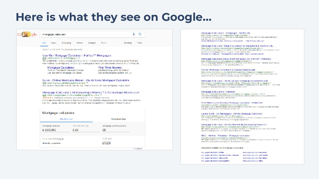 Here is what they see on Google...