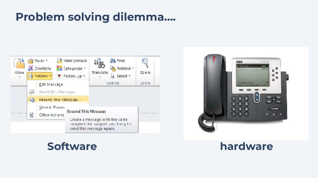 Software hardware Problem solving dilemma….