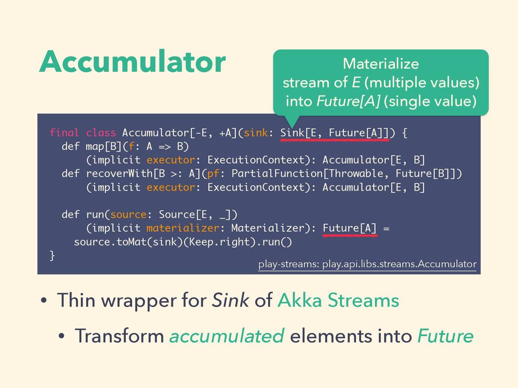 Accumulator final class Accumulator[-E, +A](sin...