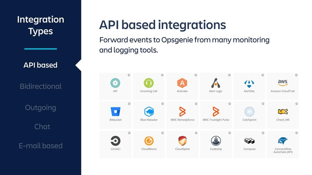 API based integrations Forward events to Opsgen...