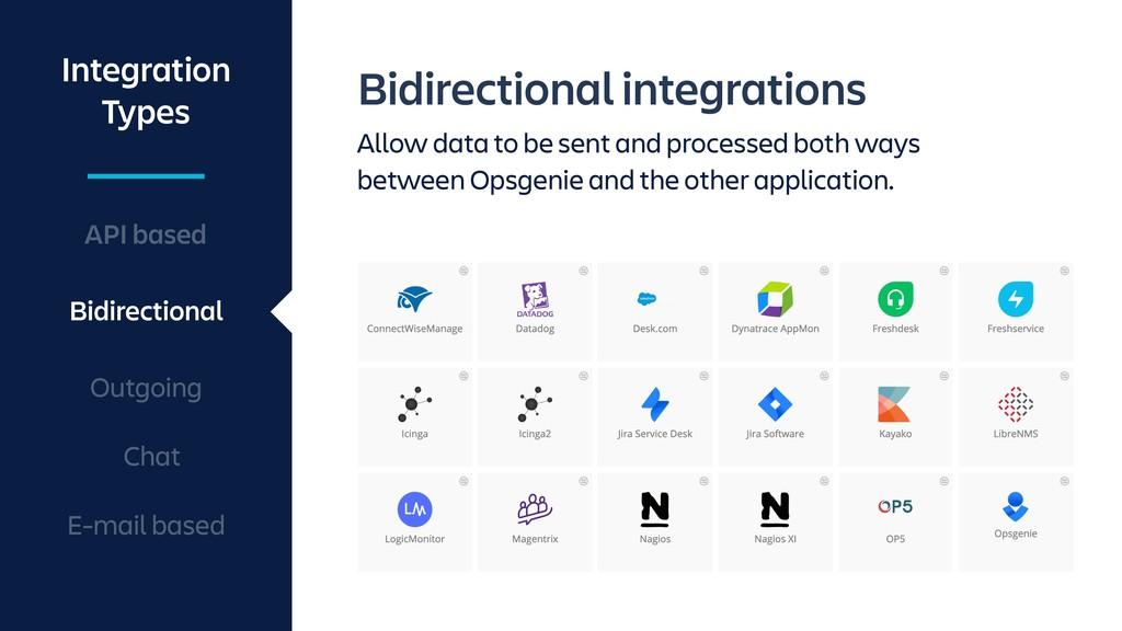 Bidirectional integrations Allow data to be sen...