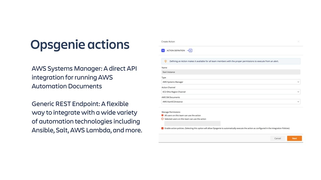Opsgenie actions AWS Systems Manager: A direct ...