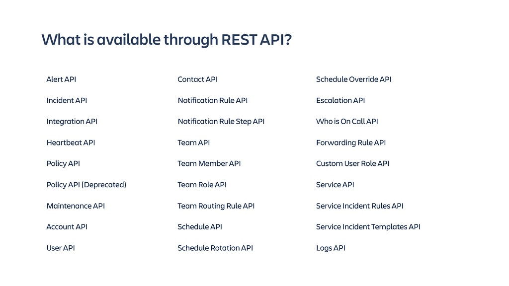 What is available through REST API? Schedule Ov...