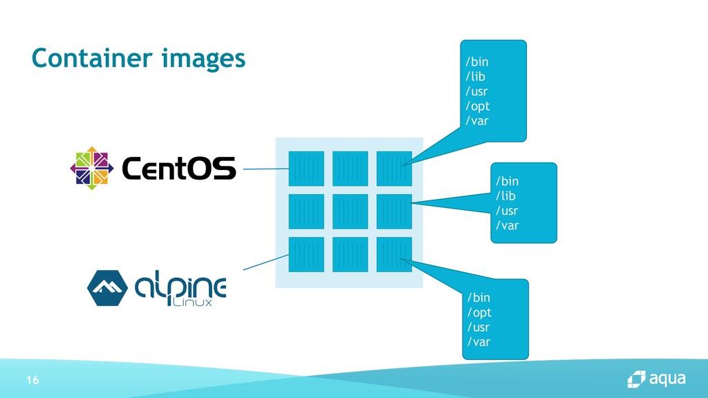 16 Container images /bin /lib /usr /opt /var /b...