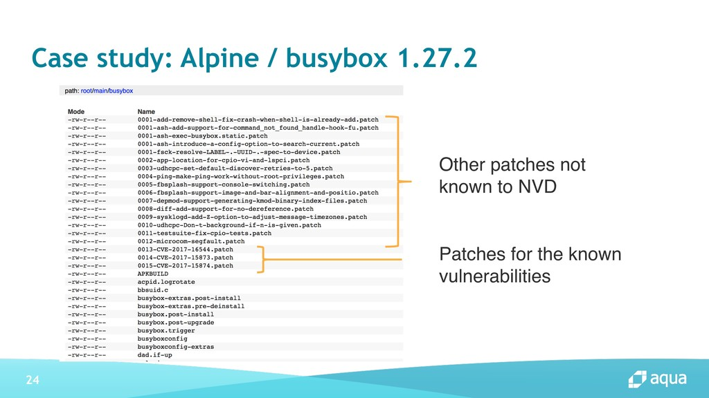 24 Case study: Alpine / busybox 1.27.2 Patches ...
