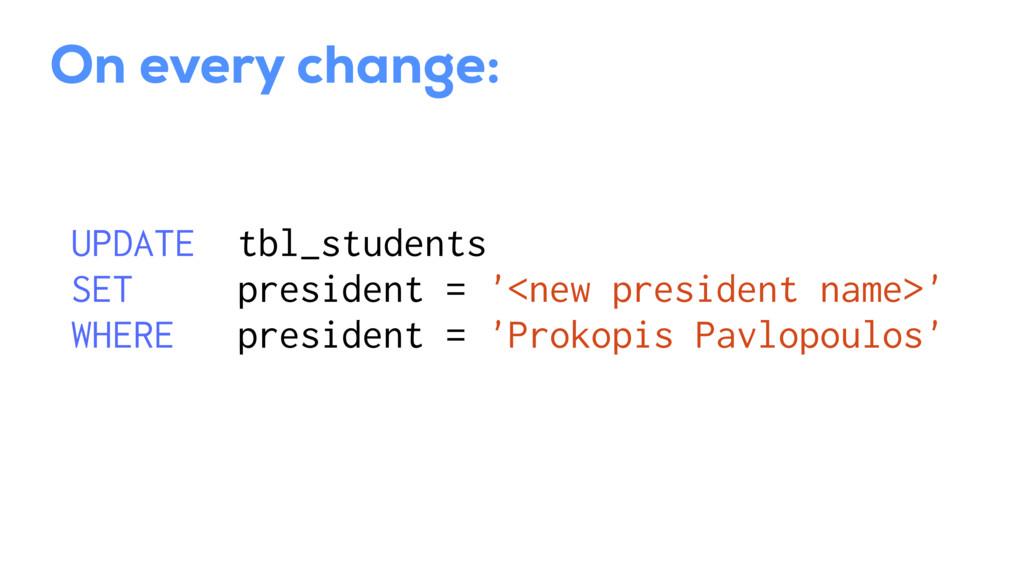 UPDATE tbl_students SET president = '<new presi...