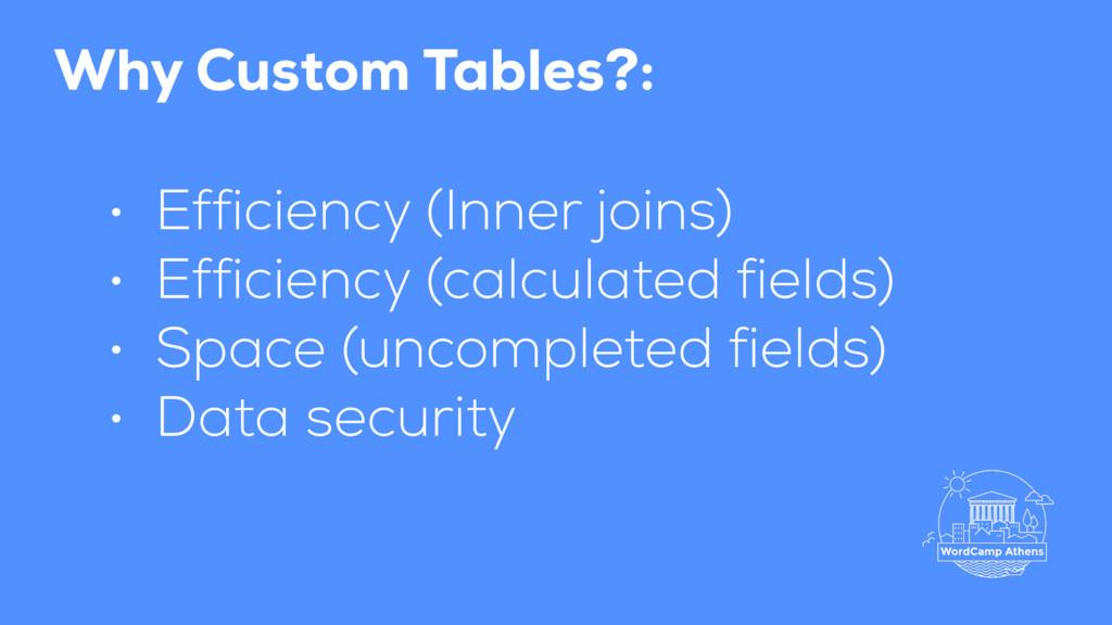 Why Custom Tables?: • Efficiency (Inner joins) ...