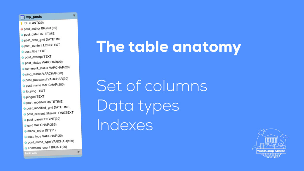 Set of columns Data types Indexes The table ana...