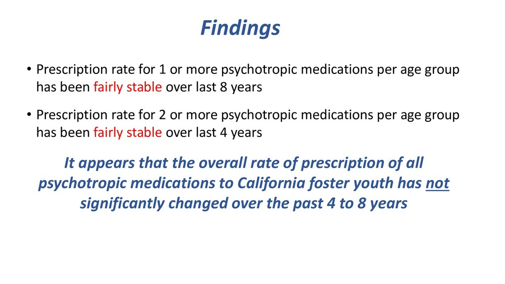 Findings • Prescription rate for 1 or more psyc...