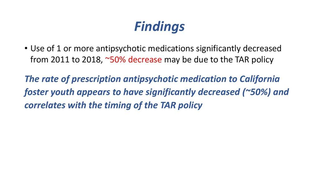 Findings • Use of 1 or more antipsychotic medic...