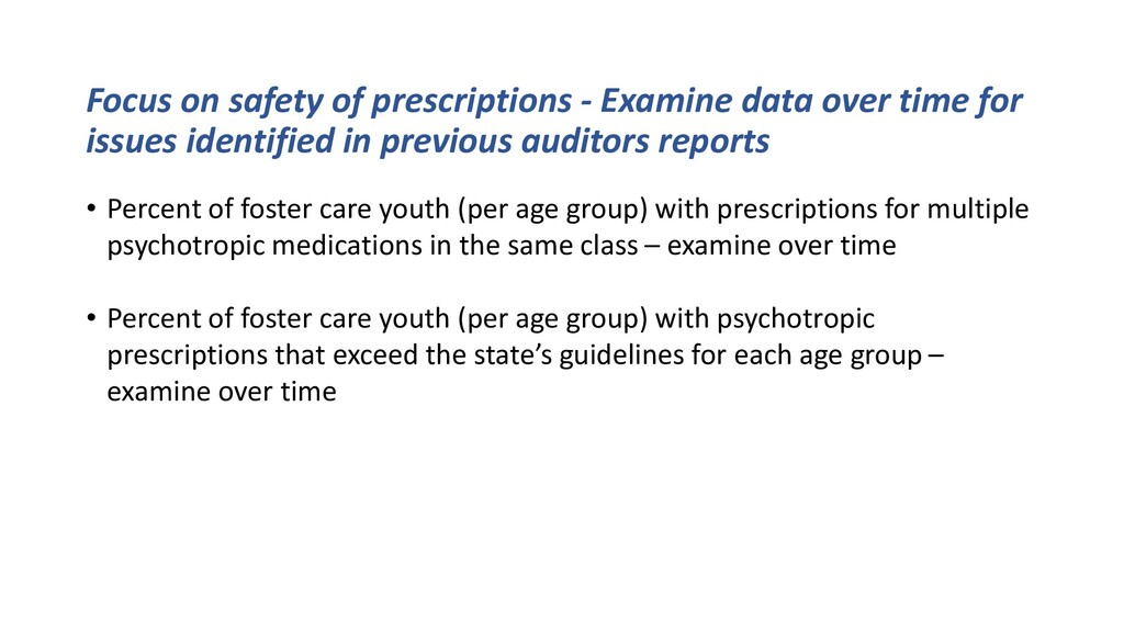 Focus on safety of prescriptions - Examine data...