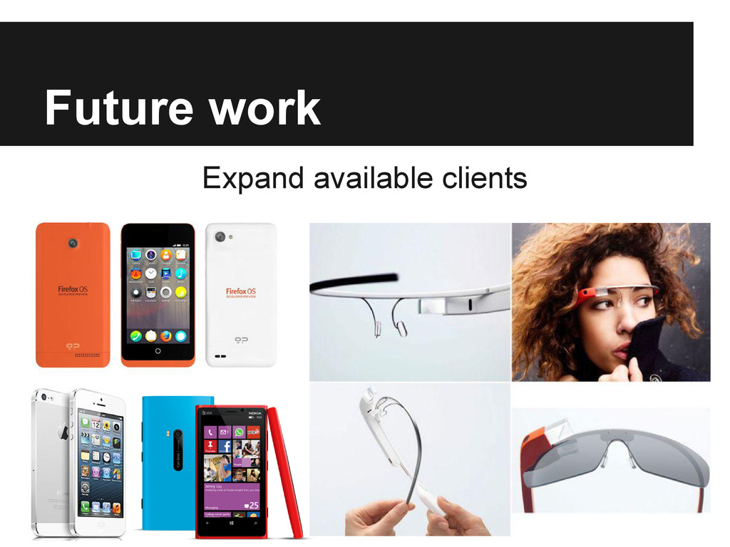 Future work Expand available clients