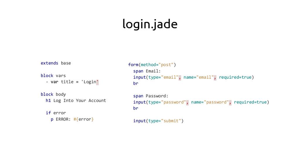 login.jade extends base block vars - var title ...