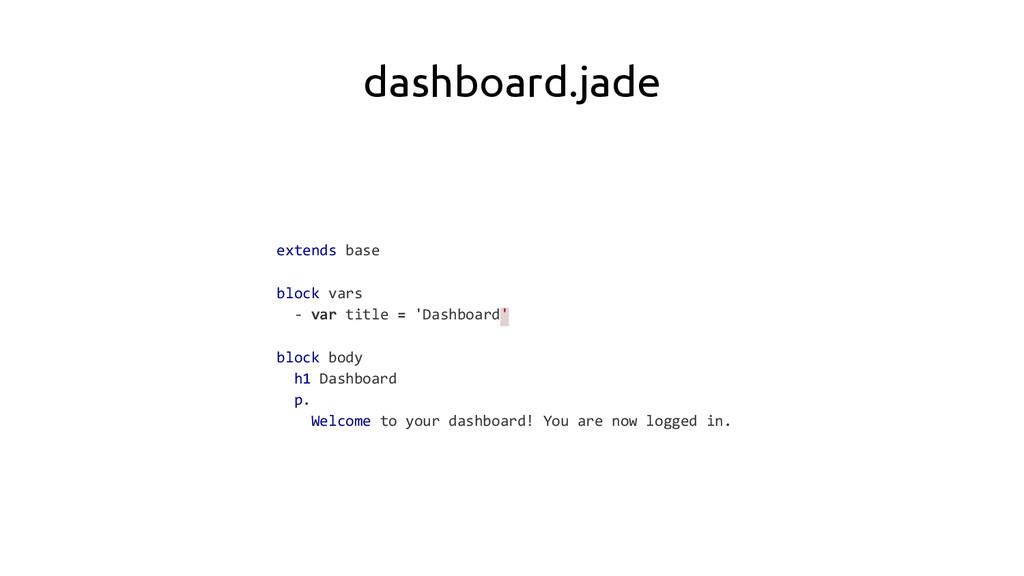dashboard.jade extends base block vars - var ti...