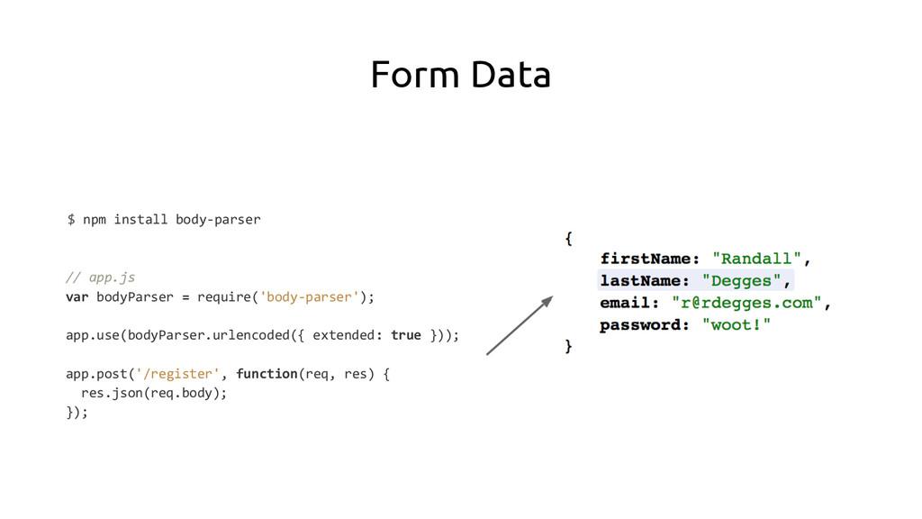 Form Data $ npm install body-parser // app.js v...