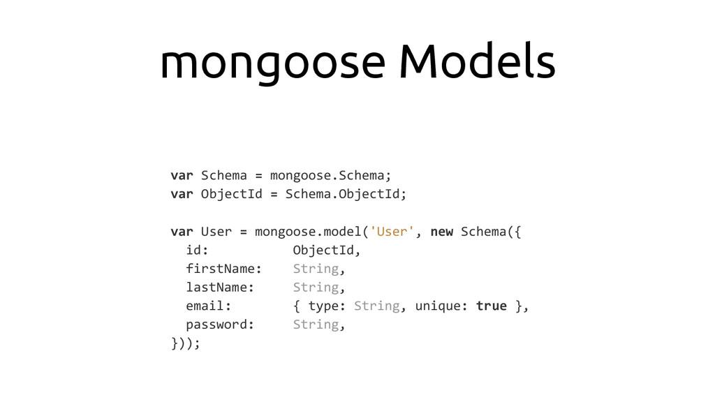 mongoose Models var Schema = mongoose.Schema; v...